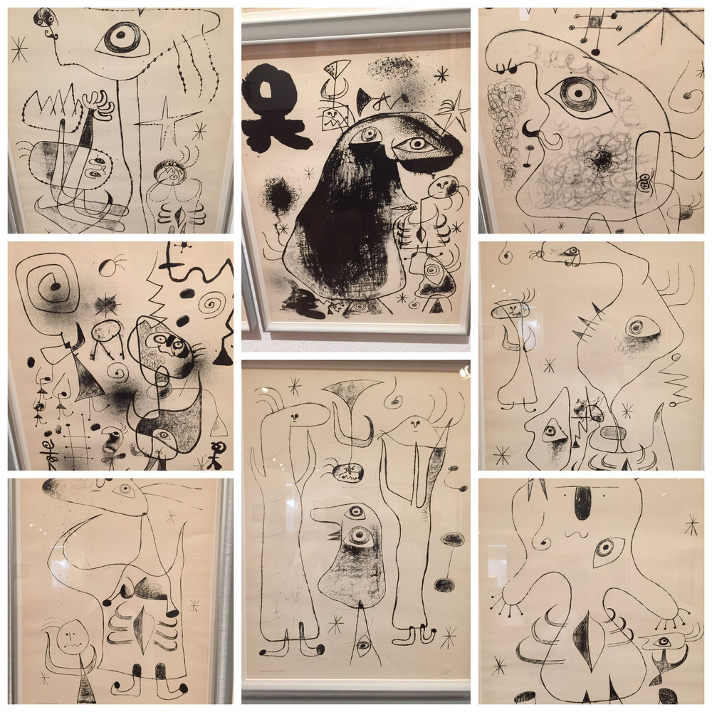 There was a whole wall of Miro's drawings.