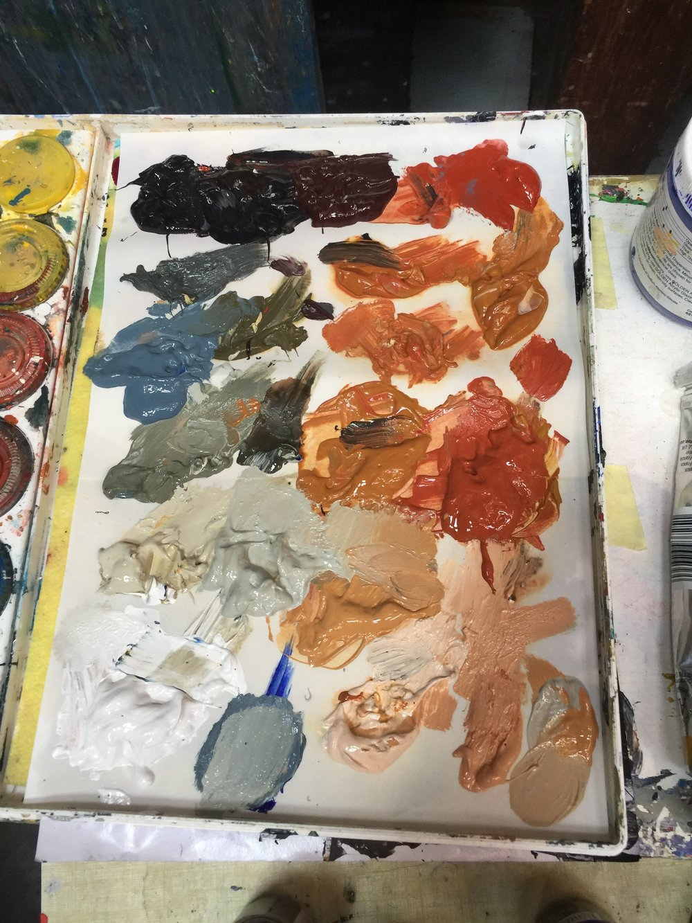One of Gillian's paint palettes