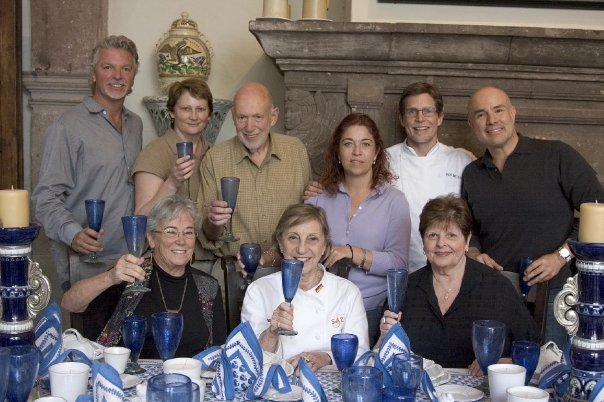 This is one of my favorite photos taken at Sazon in San Miguel de Allende. Top left, Michael Coon, me (before my hair turned white), Fred, Ana Elena, Rick Bayless, Roberto Santibanez. Front row left, Marilyn, Kirsten West and Elaine Gonzalez. We were toasting to Julia Child on her birthday.  Photo by John Schwab