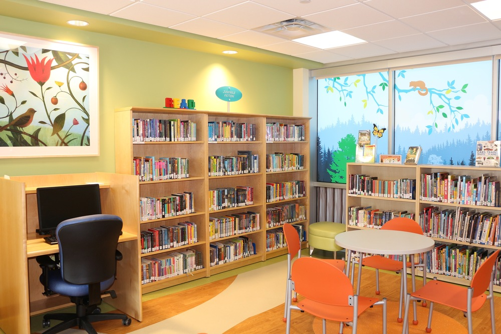 One of many libraries filled with children's books through adult fiction, as well as some reference and nonfiction.
