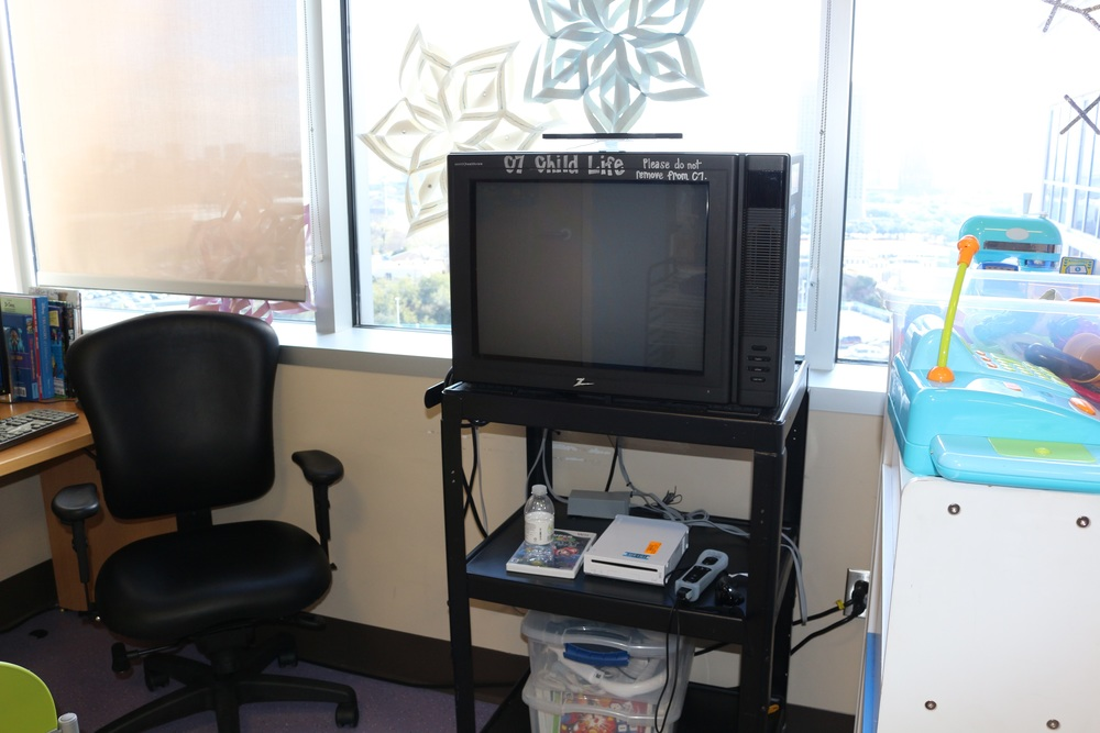 An old TV with a Wii so patients can enjoy video games.