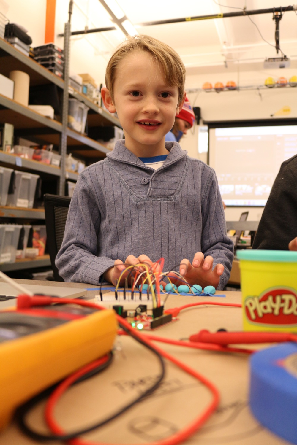 "Charlie helps us extensively by being a test subject for the play-doh circuits kit. He plays ""Mary Had a Little Lamb"" using this simple circuit and just a little bit of code."