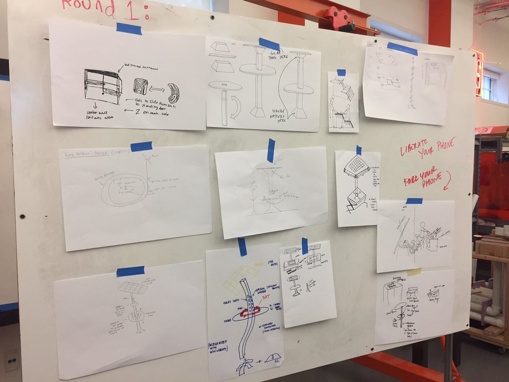 Drawings done by all members of the team of potential solutions.