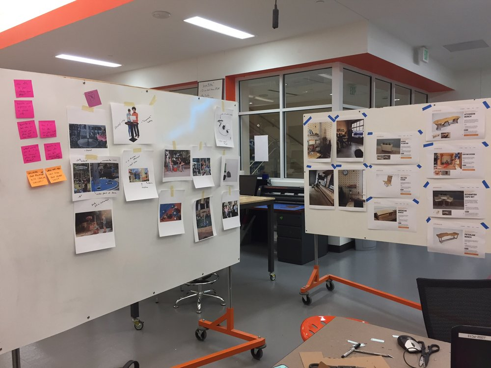 Our moodboards and inspiration. Some of the existing Better Block furniture made it up there.