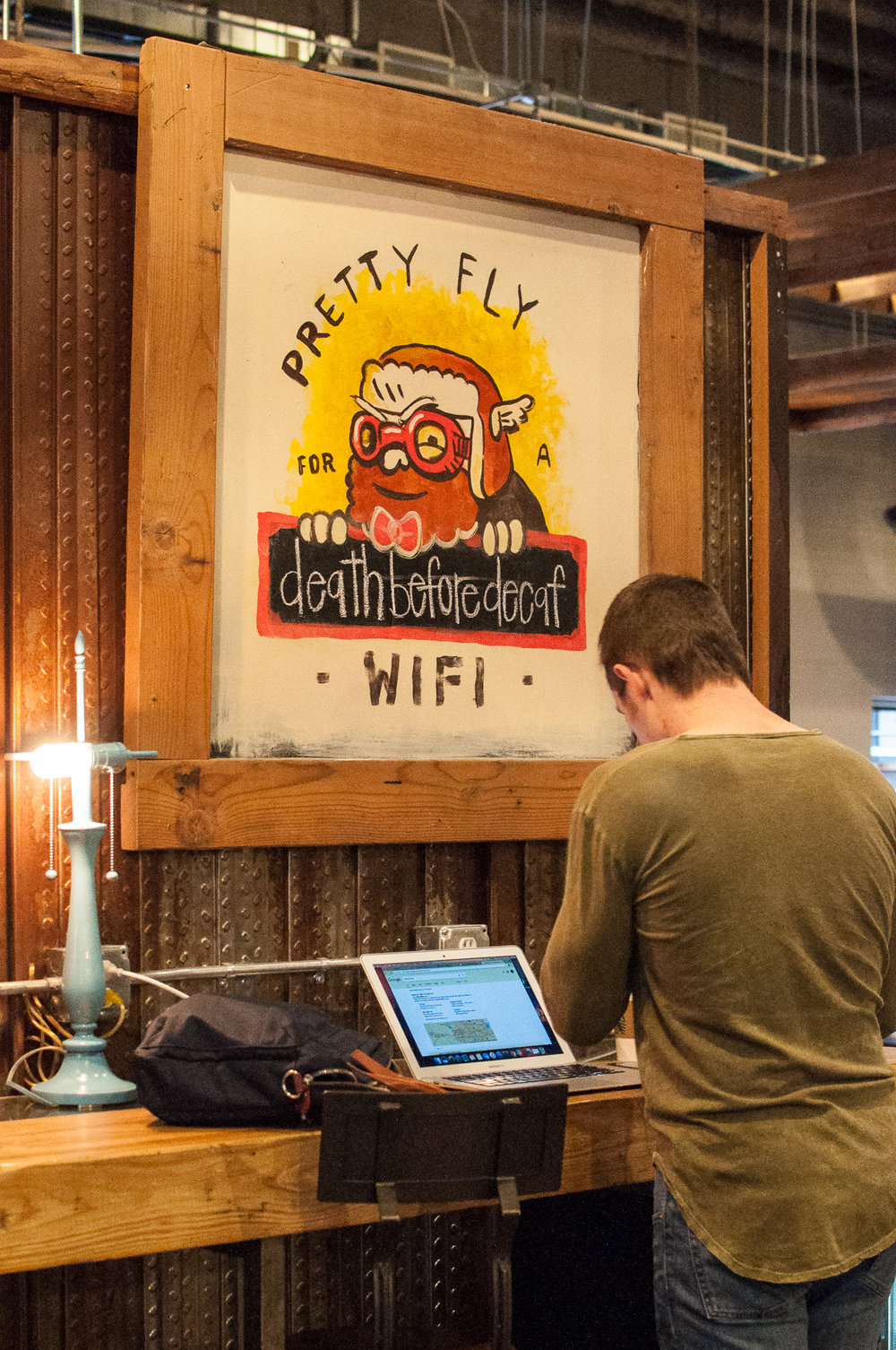 Some observations are made about how people use their devices in a coworking environment.