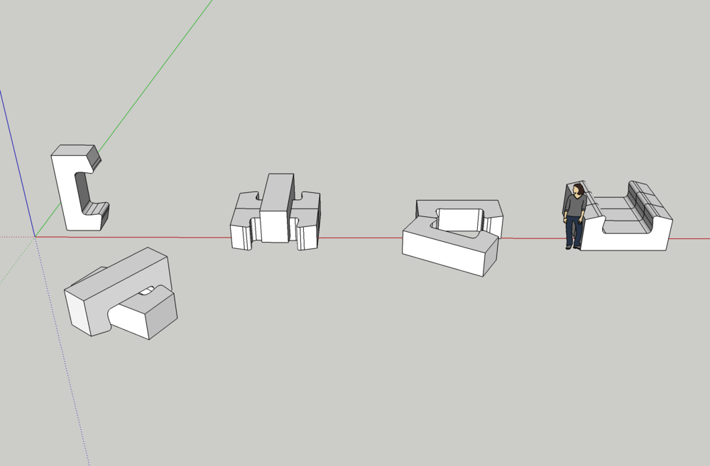 Basic CAD models showing possible layouts of multiple ModPods.
