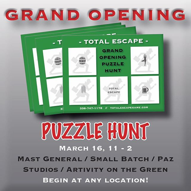 THIS Saturday! Start at any of our four locations. Do game, get stamp. x4. Bring finished stamp card back to Total Escape before 2:30 to win prizes!! #free #fun #games #downtownwinstonsalem #wsnc #grandopening @mastgeneralstore @smallbatchbeerco @pazstudios #artivityonthegreen