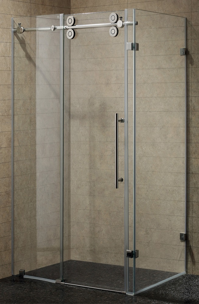 Showe doors frameless sliding shower door in nickel with for Frameless glass doors