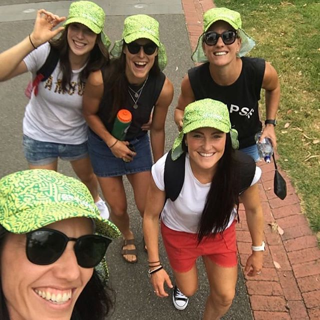 Have you got your neck covered for the @australianopen ? This girl tribe sure do and they are supporting AUS at the same time! 📷 @shaeaudley26  #getflapped #ausopen #sunsmart #sunsafe #hats #kambarni