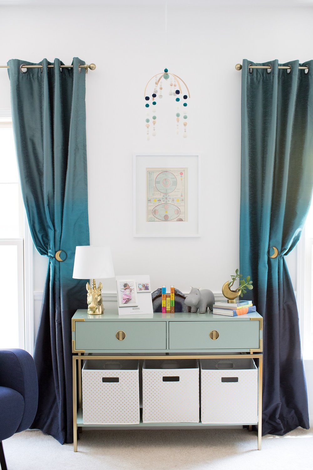 teal and blue girl nursery