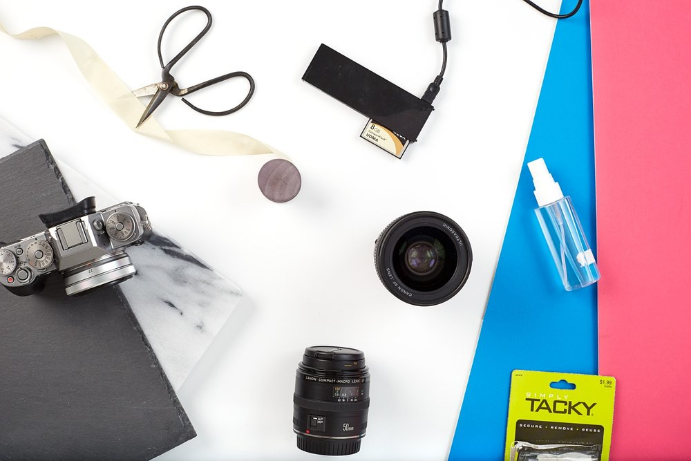 Tools and gear used to create flat lay images