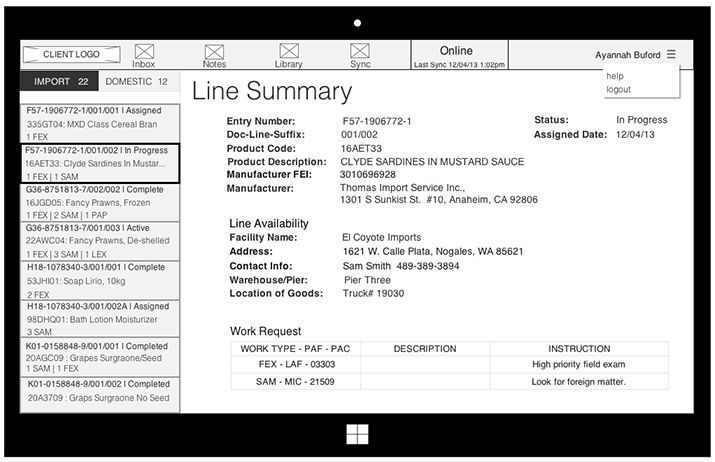 Sample of final wireframes before UI mockup  development.