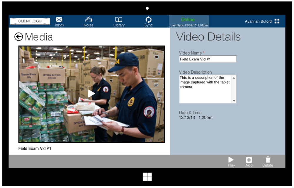 Field officers need to record detailed data includingcapturing field images to record the environment of the field examination. Embedding this functionality in the app removes the need for additional devices for them to carry around.