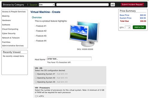 Example of customizing and acquiring a virtual machine via an eCatalog.
