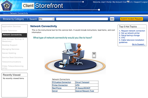 Visual Help Feature: Rollover image functionality created to allow users to click on the area of their workspace that requires connectivity service.