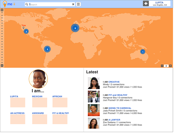 Home page for the me ii app. The world map shows the users all other users that have the same qualities based on degrees of similarity. A user can set the degrees of connection with a number counter that defines the shared traits or interest.