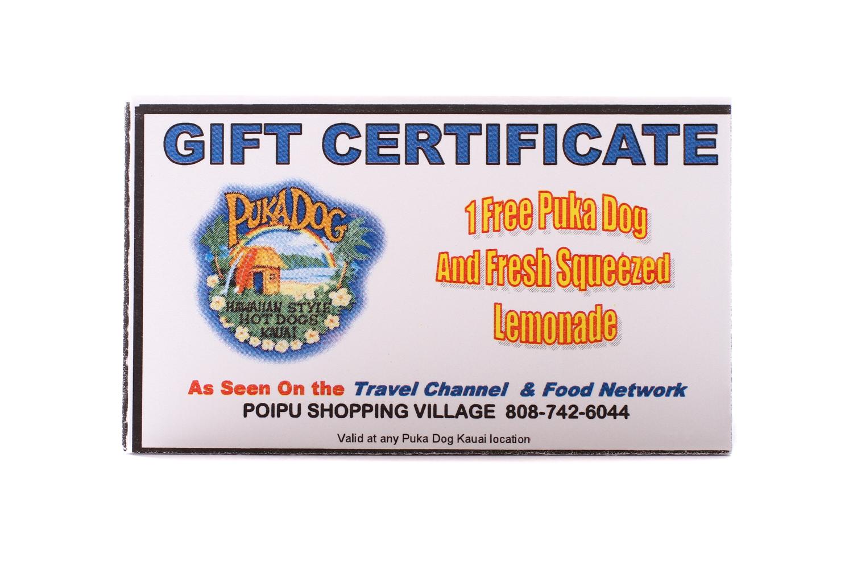 Puka Dog Gift Certificates Puka Dog
