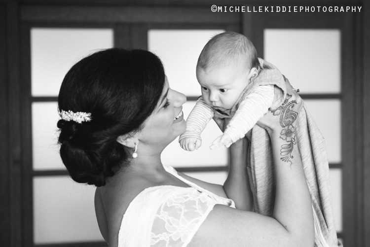 Bride and baby at Sitella Winery