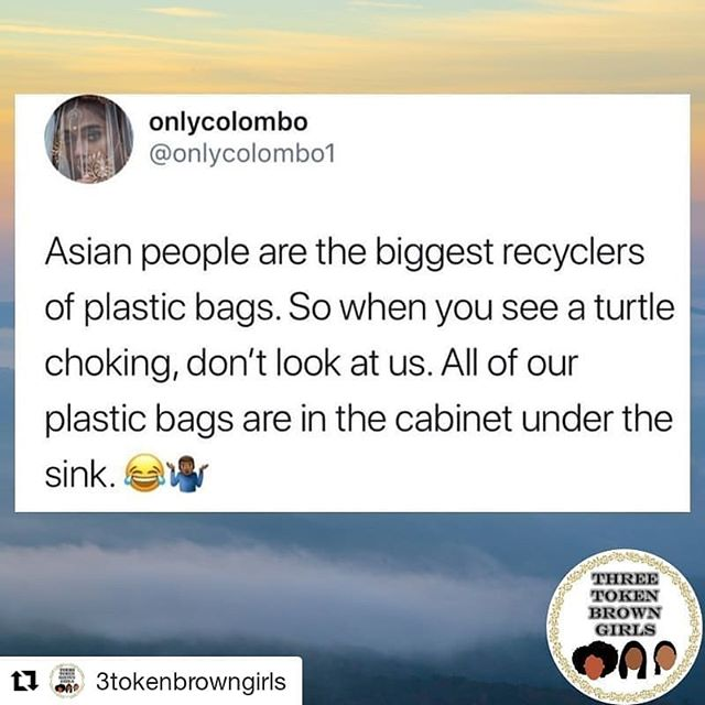 I've seen this meme with 'black people' instead of 'Asian'. And a ton of comments, including my own, being like, 'us [name of ethnic/racial group] too!' I thought saving bags was an immigrant thing but clearly not . . .