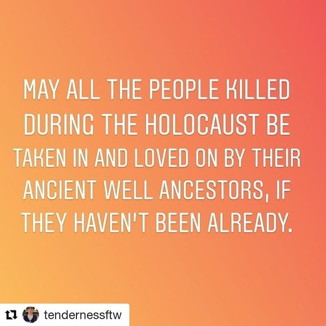Yesterday was the liberation of Auschwitz. I'm in Israel, my first/birth country, and I wouldn't have known except for Instagram.  My entire lineage, including me, is affected by the atrocities of WWII. Last time I was here, just over 2 years ago (so right after 45 was elected), we went to the Holocaust Memorial Museum. I've been there a few times, first when I was 12, as part of the 'Bat Mitzvah' curriculum my parents cobbled together, and it's always different.  It did not start with gas chambers. It started with prejudice that became law, and dehumanization. It started with other-ing.  I'm here to visit, vacation -- and heal. Including loving on my ancestors however I can.  #mayitbeso  #Repost @tendernessftw (@get_repost) ・・・