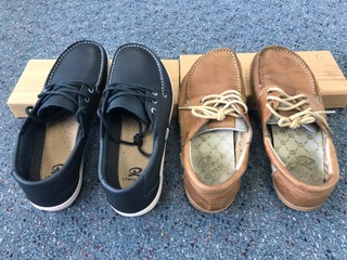 """Comparing the newer """"Navy"""" version (left) and the previous """"Camel"""" version (right)"""