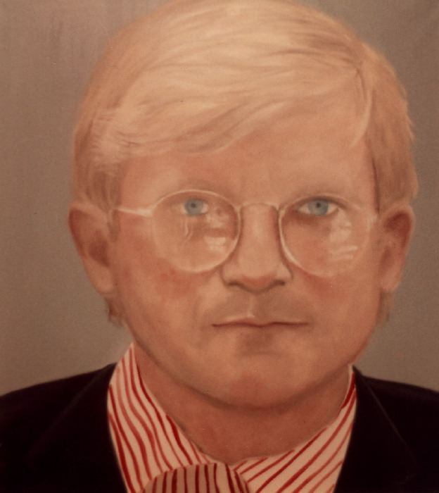 "David Hockney   acrylic on canvas, 50x56"", 1982 (destroyed)"