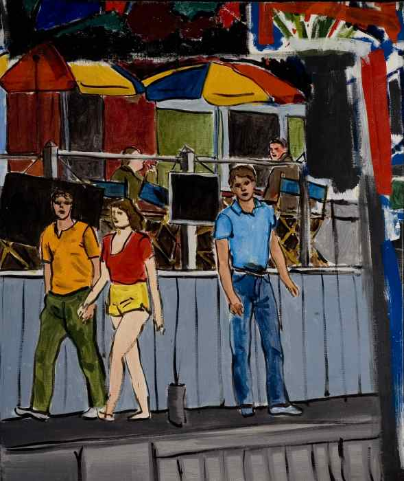 "Boardwalk,   FIre   Island Pines , acrylic on canvas, 28x33"", circa 1982"