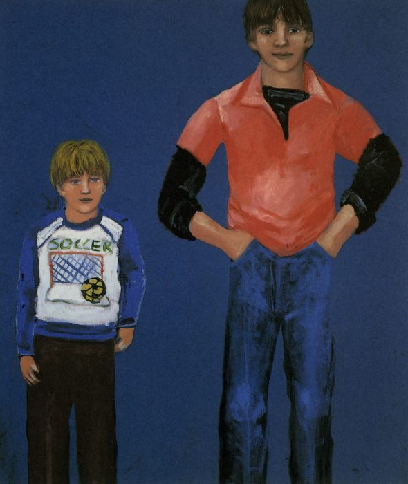 "Mirsad and Cousin , acrylic, 36x30 "", 1983"