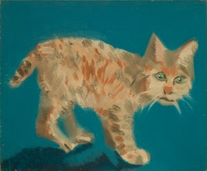 "Larry's cat Sydney, acrylic on canvas board, 20x24"", 1981. Sydney was an aggressive Maine Coon Cat that could hiss louder than a cobra and terrified everyone"
