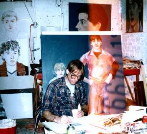 Larry in his studio, 1982