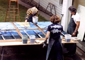 David Hockney working on Paper Pools at Ken Tyler's Print Workshop, Mt. Kisco, NY, 1978, Photographed by Larry Stanton