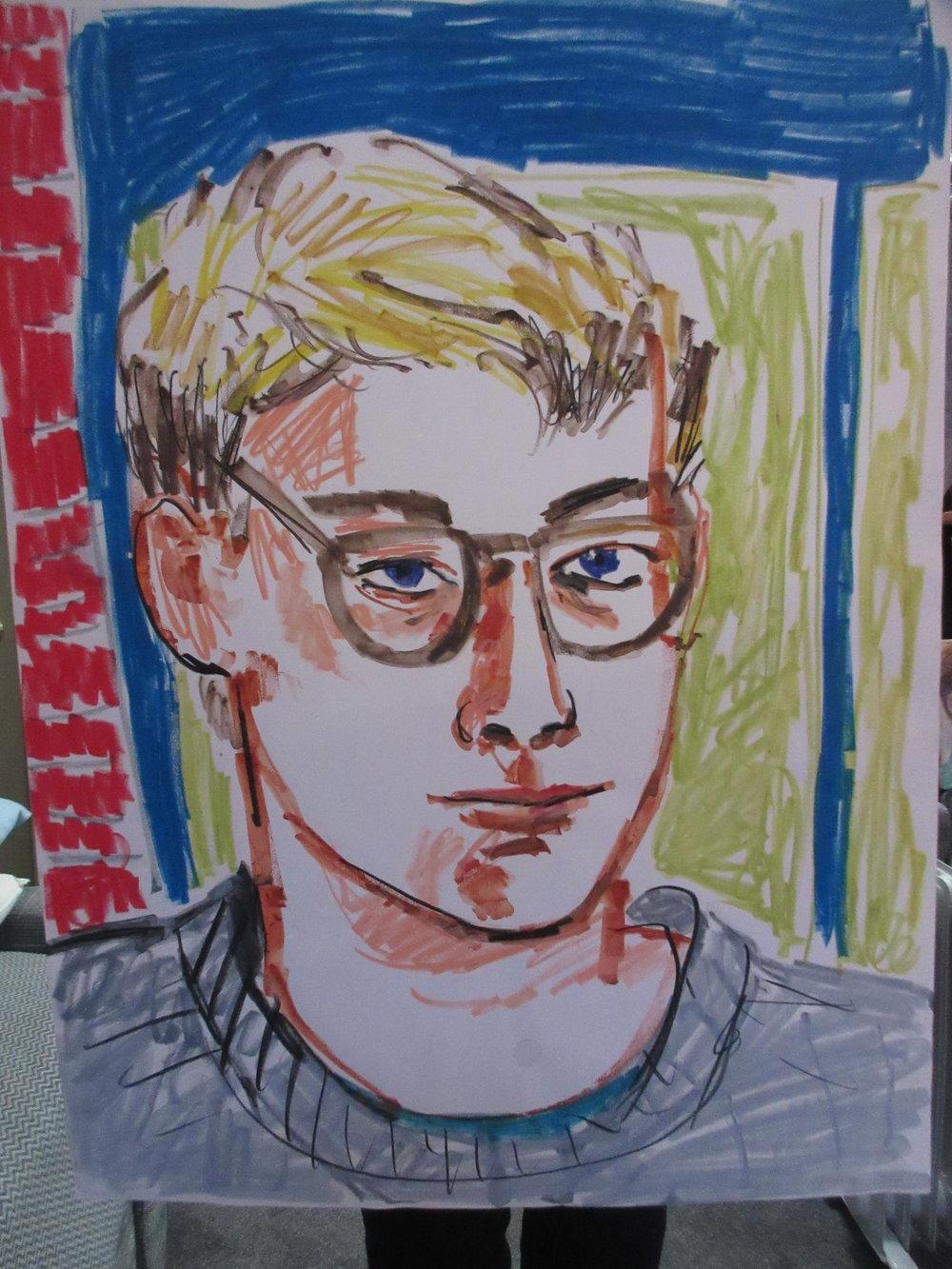 "Larry Stanton Self Portrait  24"" H X 18"" Crayon on Paper  Circa 1983 No information  $1,000"