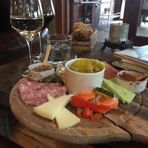 Charcuterie at Laurentia paired with the Gewurztraminer and Pinot Noir