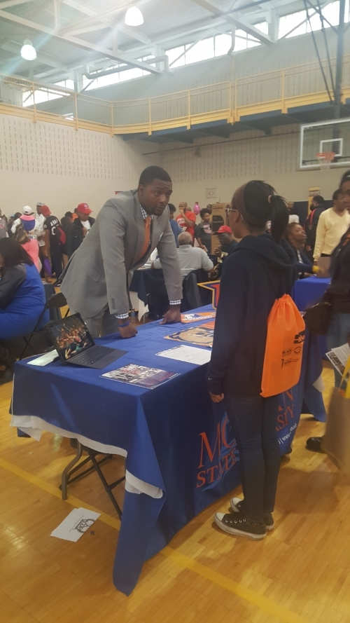 Kay talking to a rep from Morgan State University