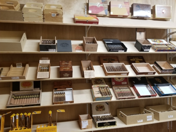 Inside the humidor also know as the cigar room