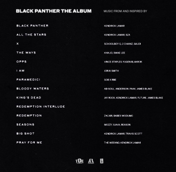 Song list from the Black Panther Soundtrack- Photo courtesy  Facebook