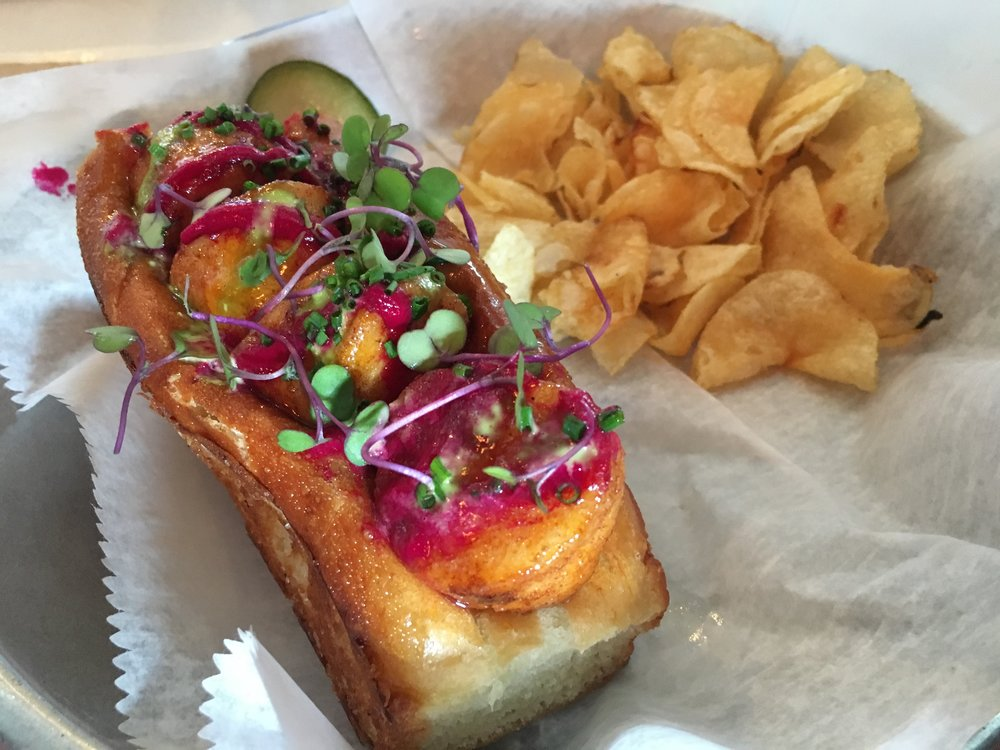 Scallop Po'Boy with beet reduction. On a perfecly toasted buttery bun. Heaven indeed!