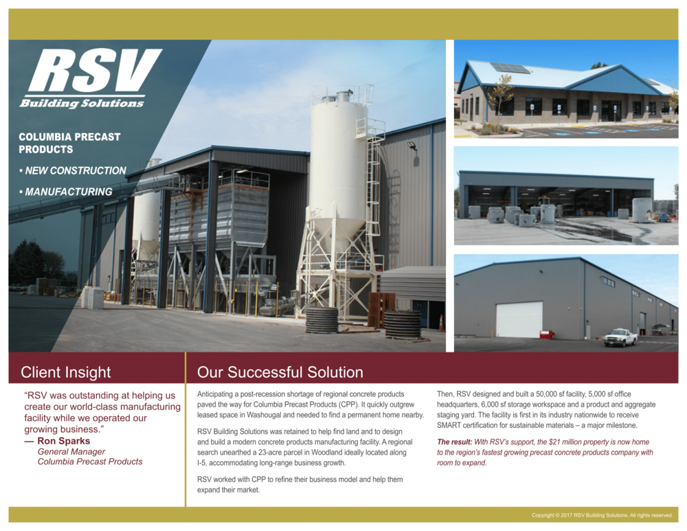Columbia Precast Products - New Construction, Manufacturing