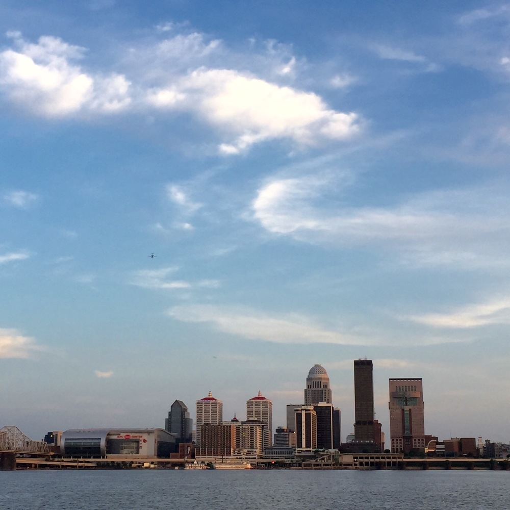 A beautiful view of our Louisville city skyline from across the bridge in Jeffersonville, IN.