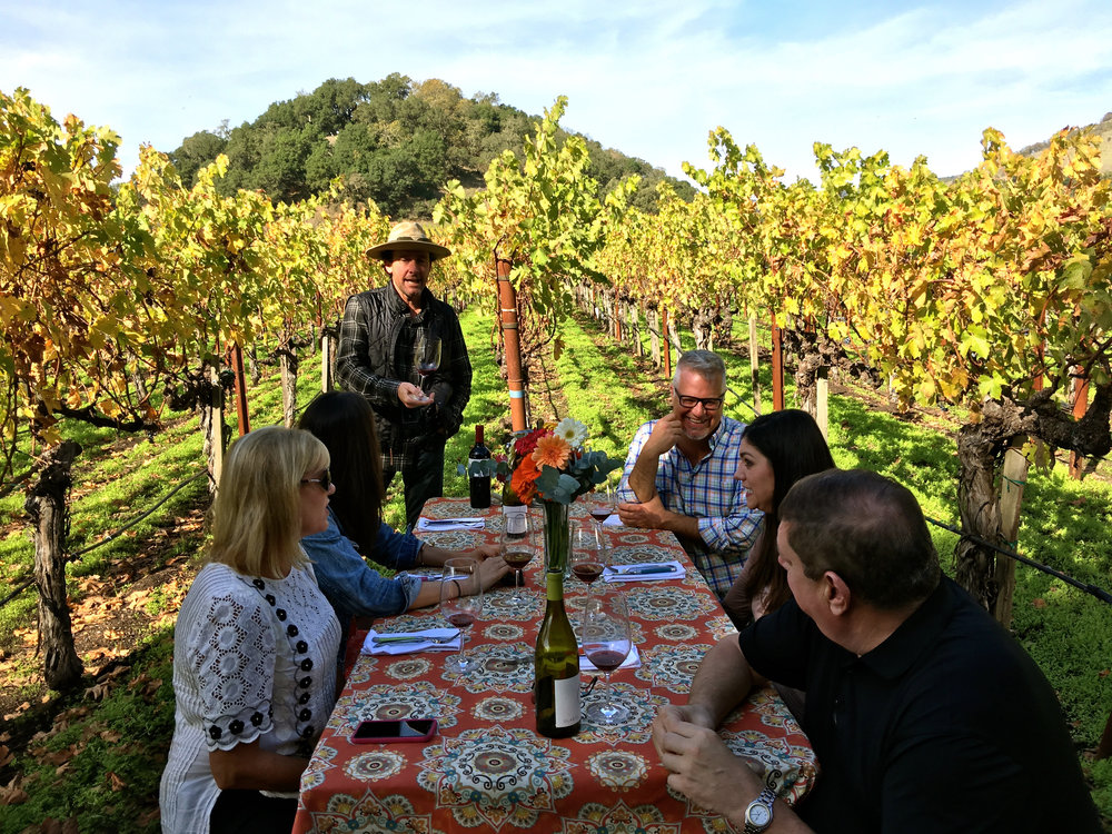 Doug's favorite place for lunch - in the vineyard  (  Photo: Mike Casey, The 29 Napa   )