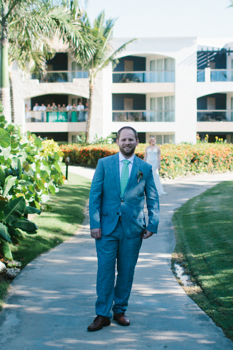 Punta Cana destination wedding, groom is ready to see his bride during their first look