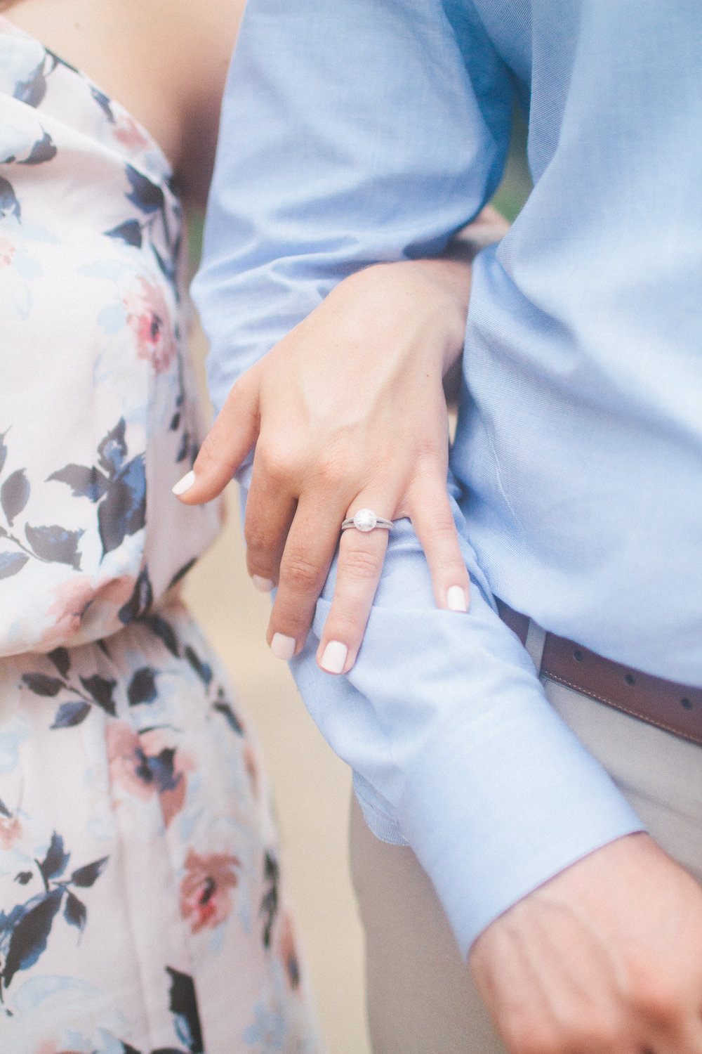 Engaged couple showing off engagement ring at Boone Hall Plantation, Charleston South Carolina by Danielle Gallo Photography
