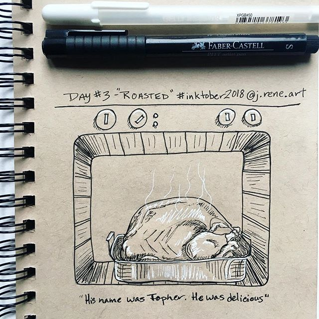 "#inktober2018day3 : ""roasted"" 🖋 His name was Topher, and he was delicious; Thelma, Thaddeus, and Tobias were also. . #inktober #jreneart #art #artistofinstagram #seattleartist #pnwartist #pnw #tranquil #ink #inkdrawing #tonedpaper #create #jhsinktober #inktober2018 #inktoberday3 #turkey #thanksgiving #topher #roasted #gellyrollpens #fabercastell @fabercastellusa"
