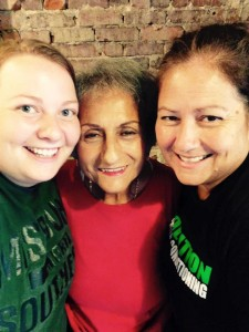 My mom, sister, and grandmother pre-workout.