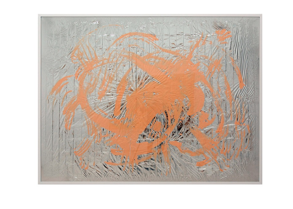 Pamela Rosenkranz,  Express Nothing (Pink Health) , 2011, Acrylic on emergency blanket foil 162.9 x 211.8 cm, 64 1/8 x 83 3/8 in