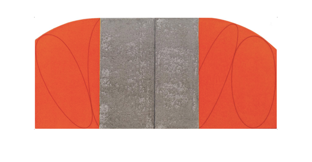 Robert Mangold, Red Orange / Grey Zone Painting, 1995, Acrylic and pencil on canvas, 20 x 44 in, 50.8 x 111.8 cm
