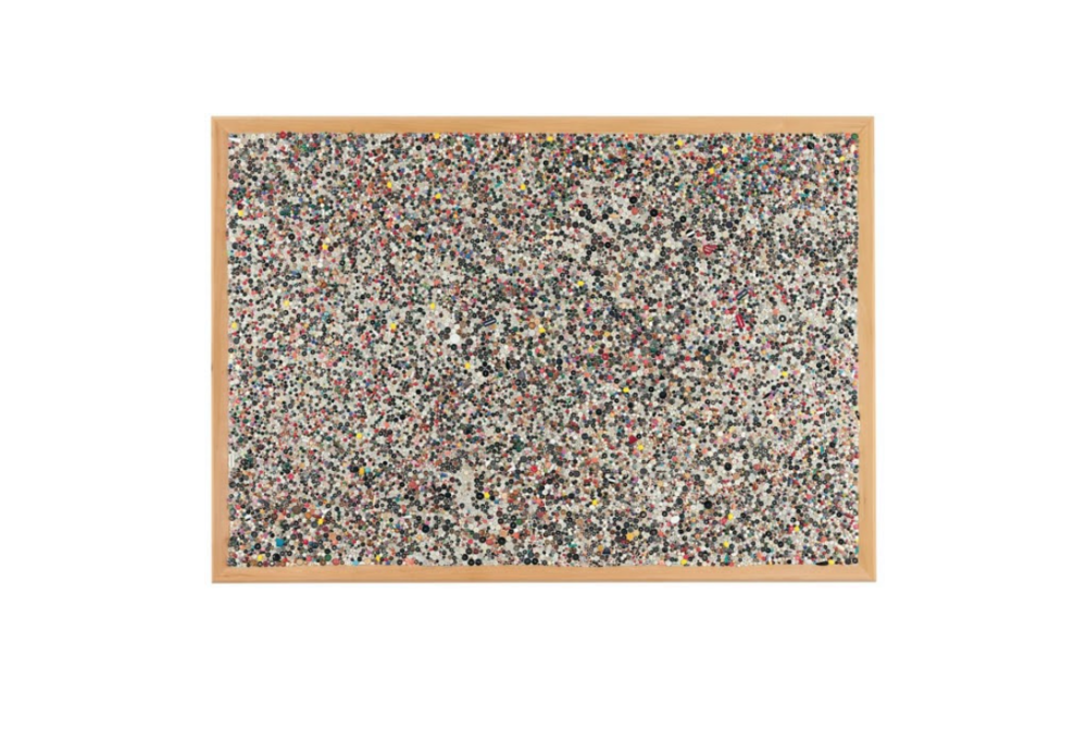 Mike Kelley, 2001  Memory flat 14 , paper pulp ,title grout acrylic, miscellaneous beads, buttons on wood,  70 x46 x 4x in, 177.6 x 116.8 x 10.2