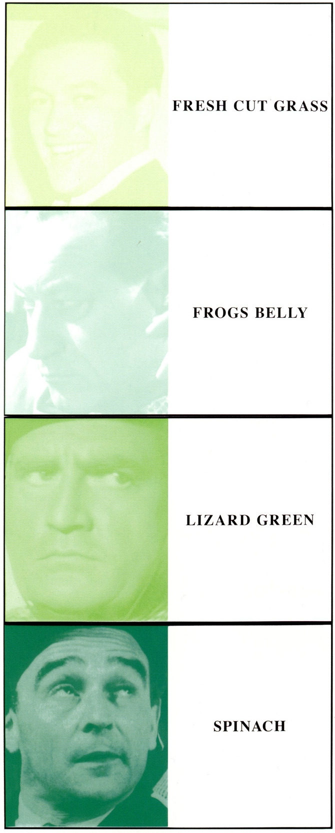John Baldessari,  Prima Facie (Fifth State) Fresh Cut Grass/Frogs Belley/Lizard Green/Spinach (in 4 parts),  2005