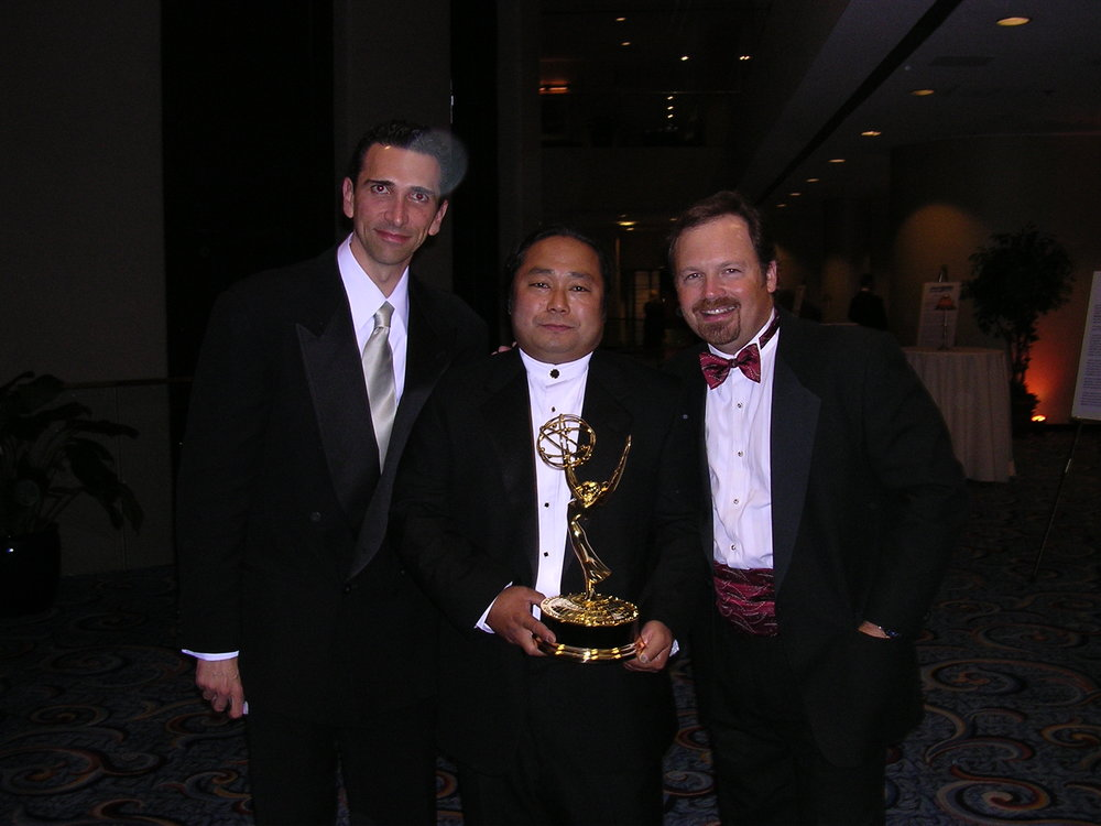 The Emmy Team. Producer Sidney Sherman, the cinematographer, and director Todd Robinson.