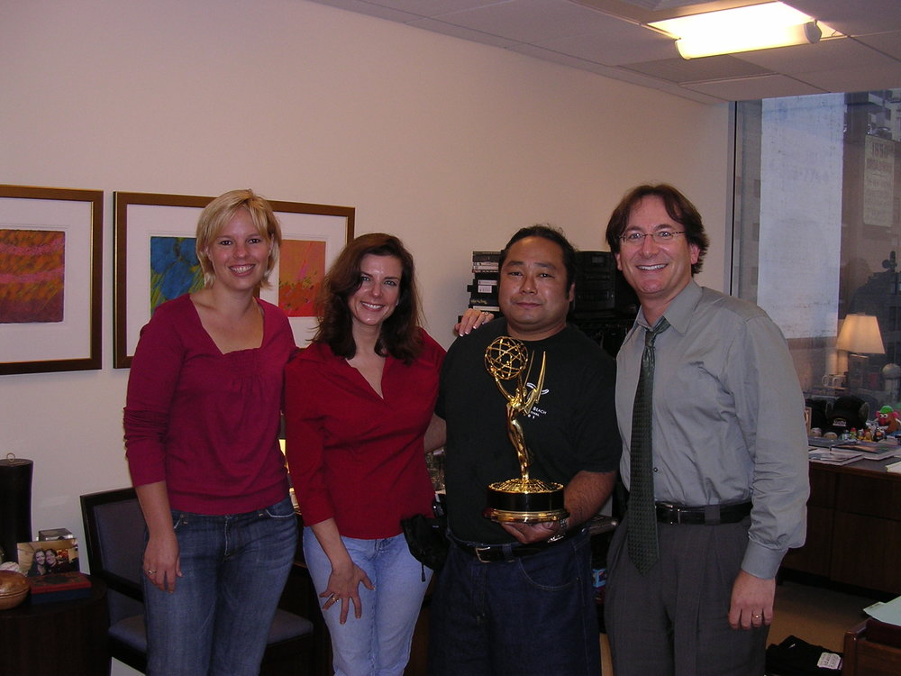 The following morning I decided to continue on the victory tour taking Emmy over to the headquarters of The Sundance Channel. It was the network's first Emmy and they were excited to have me bring Emmy by to share her with the staff. I believe the lady to the far left is the marketing executive for the network and the gentleman to my left was the president of The Sundance Channel. He said Bob would be very excited to congratulate me so he phoned him. Unfortunately Bob was on set shooting one of his scenes (I believe he was in Europe) and could not break away. Oh well…